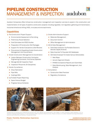 Pipeline Construction Management Inspection