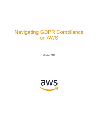 Navigating GDPR Compliance on AWS