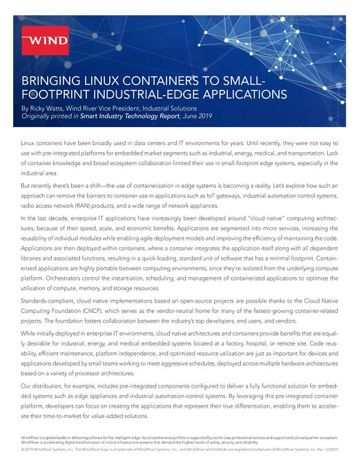 Bringing Linux Containers to Small-Footprint Industrial-Edge Applications