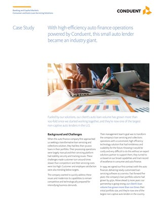 Case Study: Powered by Conduent, a small auto lender became an industry giant.