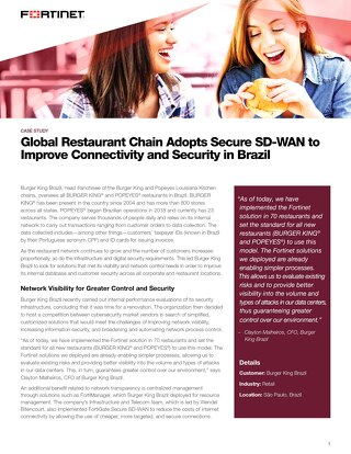 Global Restaurant Chain Adopts Secure SD-WAN to Improve Connectivity and Security in Brazil