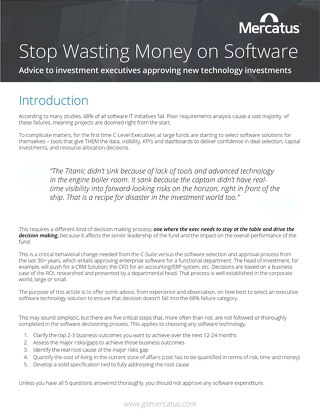 Stop Wasting Money on Software