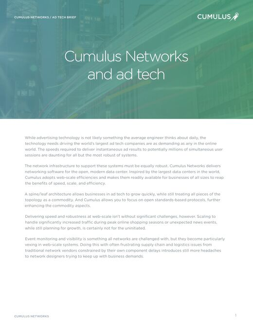 Cumulus Networks and AdTech industry
