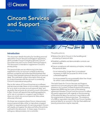 Cincom Services and Support Privacy Policy