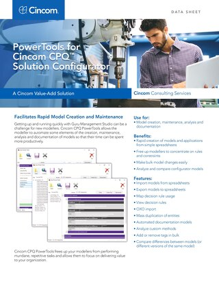 PowerTools for Cincom CPQ Solution Configurator
