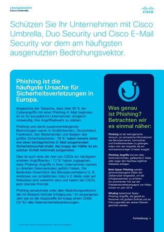 Schützen Sie Ihr Unternehmen mit Cisco Umbrella, Duo Security und Cisco E-Mail Security vor dem am häufigsten ausgenutzten Bedrohungsvektor