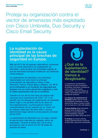 Proteja su organización contra el vector de amenazas más explotado con Cisco Umbrella, Duo Security y Cisco Email Security