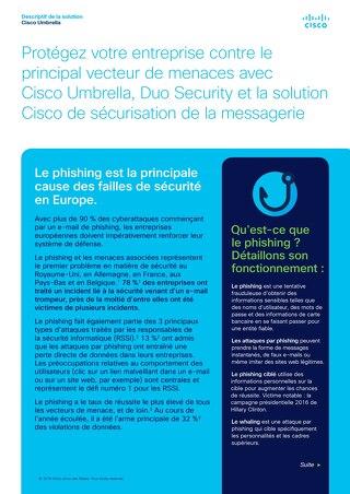 Protégez votre entreprise contre le principal vecteur de menaces avec Cisco Umbrella, Duo Security et la solution Cisco de sécurisation de l