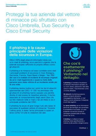 Proteggi la tua azienda dal vettore di minacce più sfruttato con Cisco Umbrella, Duo Security e Cisco Email Security