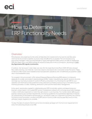 Determining ERP Functionality Needs Guide: Whitepaper