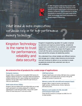 Kingston Technology Extensive Line of Products