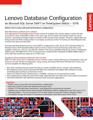 Lenovo Database Configuration for Microsoft SQL Server DWFT on ThinkSystem SR655 - 10TB