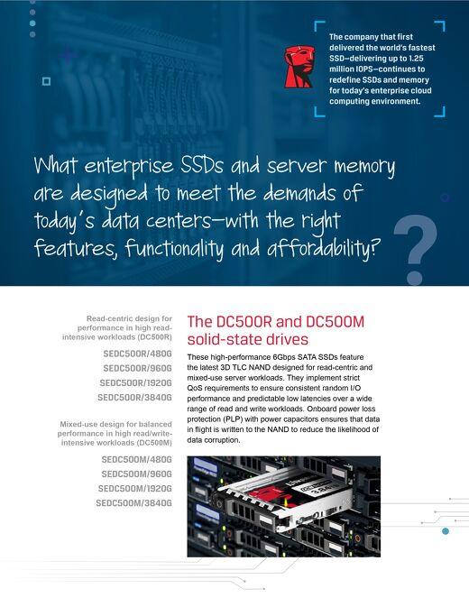 Kingston DC500R and DC500M Solid-State Drives Server Solutions