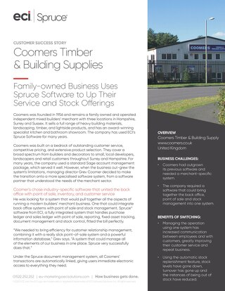 Coomers Timber & Building Supplies Spruce Success Story