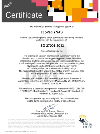 Ecovadis ISO 27001 Certificate