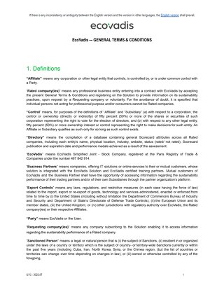EcoVadis General Terms and Conditions