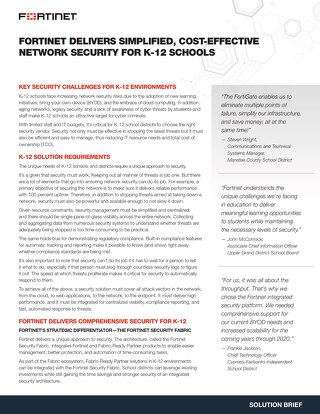 Fortinet Delivers Simplified Cost-effective Network Security for K12 Schools