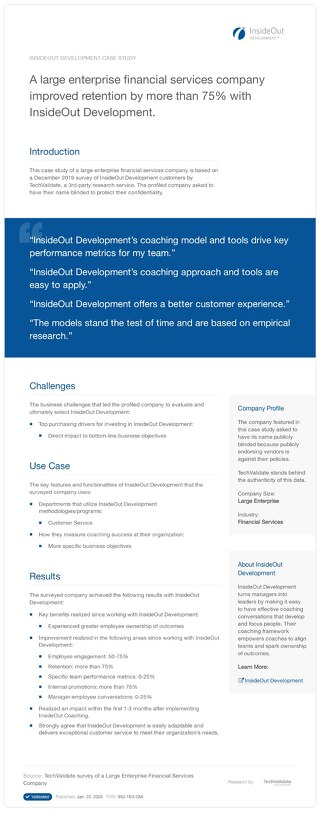 Large Enterprise Banks and InsideOut Development: A Case Study