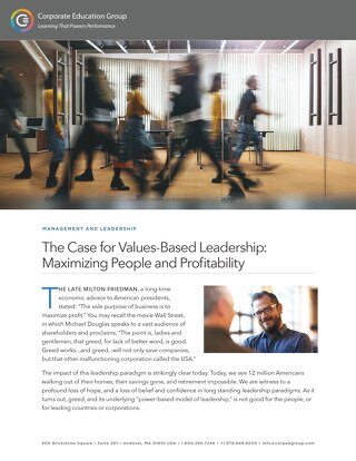 The Case for Values-Based Leadership: Maximizing People and Profitability