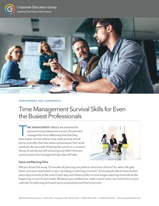 Time Management Survival Skills for Even  the Busiest Professionals
