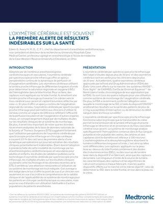 L'OXYMÉTRIE CÉRÉBRALE EST SOUVENT LA PREMIÈRE ALERTE DE RÉSULTATS INDÉSIRABLES SUR LA SANTÉ