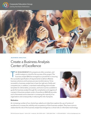 Create a Business Analysis Center of Excellence