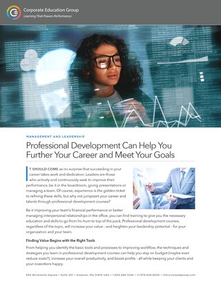 Professional Development Can Help You Further Your Career and Meet Your Goals