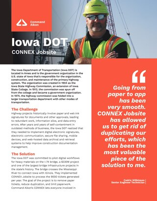 CONNEX Jobsite Iowa Department of Transportation Case Study