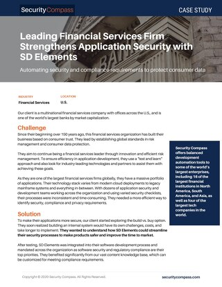 Leading Financial Services Firm Strengthens Application Security with SD Elements