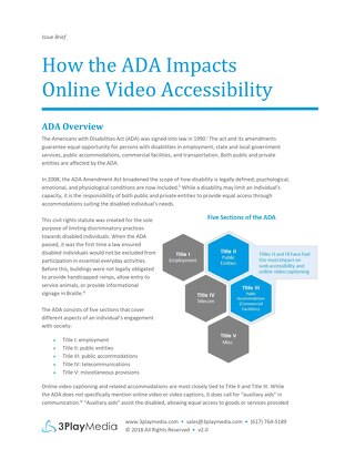 How the ADA Impacts Online Video Accessibility