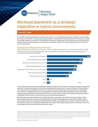 Workload placement as a strategic imperative in hybrid environments