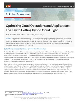 Optimizing Cloud Operations and Applications- The Key to Getting Hybrid Cloud Right