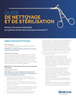 Guide de nettoyage et de stérilisation du système de fermeture du fascia VersaOne
