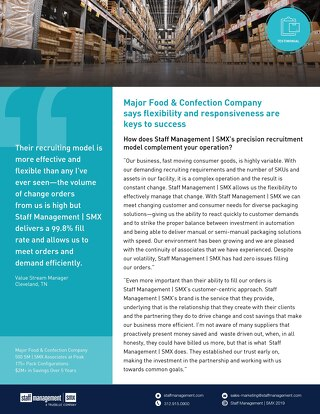 Major Food & Confection Company Client Testimonials