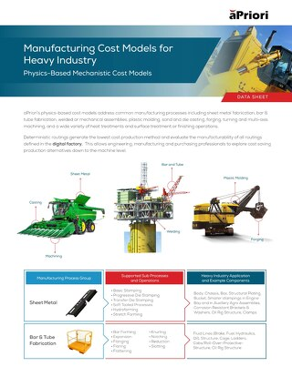 aPriori Heavy Industry Manufacturing Cost Models Datasheet