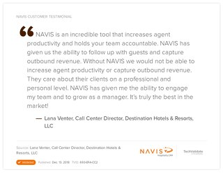 Testimonia from Lana Venter, Call Center Director at Destination Hotels & Resorts
