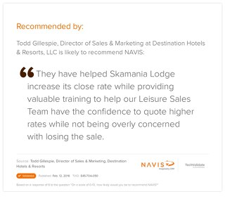 Testimonial from Todd Gillespie, Director of Sales and Marketing for Destination Hotels and Resorts