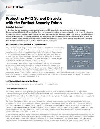 Protecting K-12 School Districts with the Fortinet Security Fabric