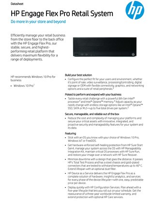 HP Engage Flex Pro Retail System Data Sheet