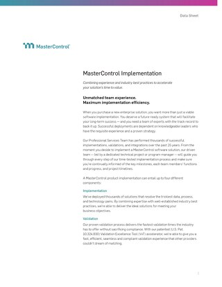 MasterControl Implementation