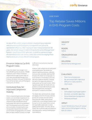 Top Retailer Saves Millions in EHS Program Costs