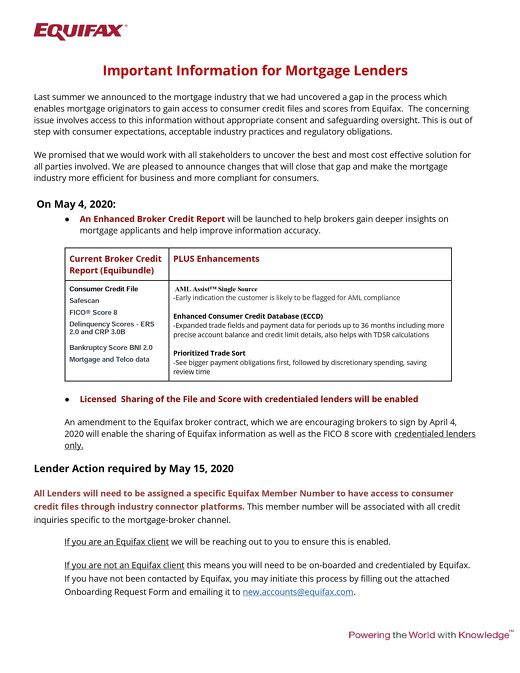Mortgage Industry Lender Announcement