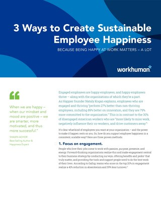 Checklist: 3 Ways to Create Sustainable Employee Happiness