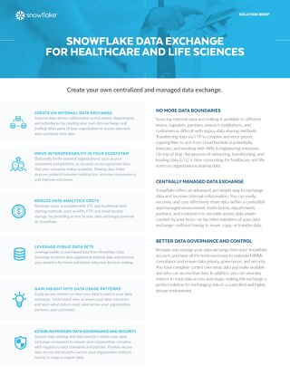 Snowflake Private Data Exchange for Healthcare and Life Sciences