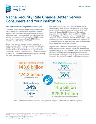 Nacha Security Rule Change Better Serves Consumers and Your Institution