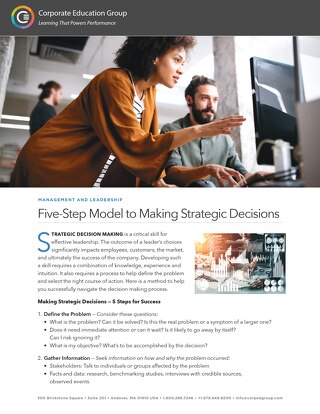 Five-Step Model to Making Strategic Decisions