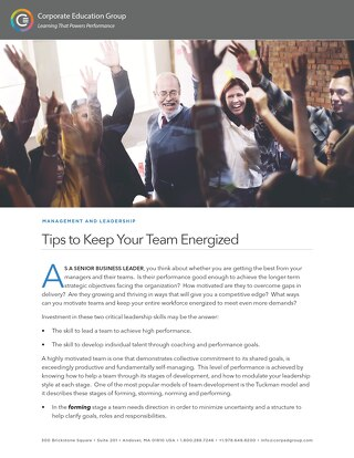 Tips to Keep Your Team Energized
