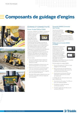 Trimble Grade Control Components Datasheet - French