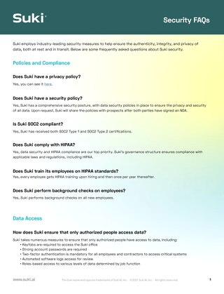 Suki Security FAQ