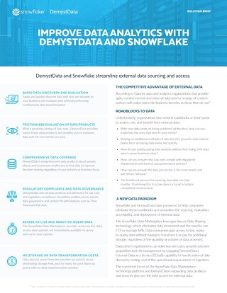 Improve Data Analytics with DemystData and Snowflake